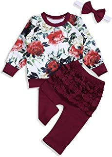 itkidboy Baby Girl Clothes Floral Print Sweatshirt Long Sleeve Top + Flower Pants + Headband 3PCS Set Twins Clothes