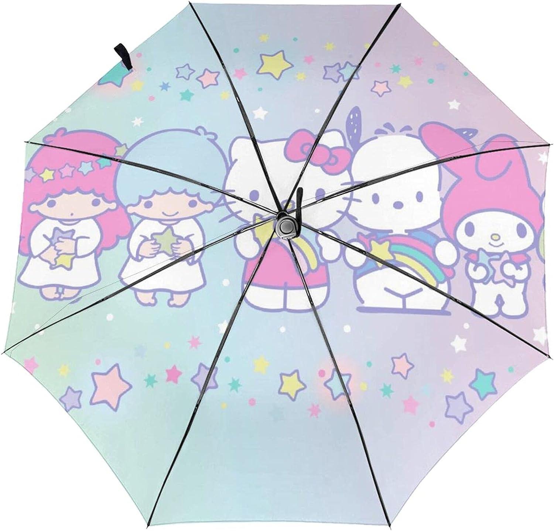 Popular product Max 86% OFF Hello Kitty Automatic Umbrella Waterp Tri-Fold Cartoons