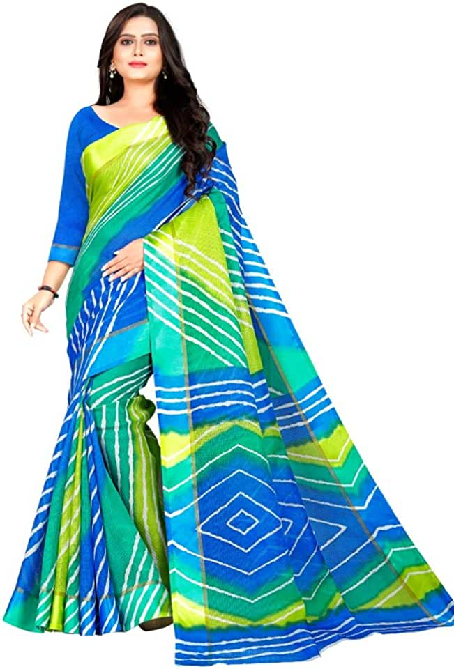 Indian Jaanvi Fashion Women's Kota Doria Silk Saree with Blouse Piece (shibouri-09_Blue,Green) Saree