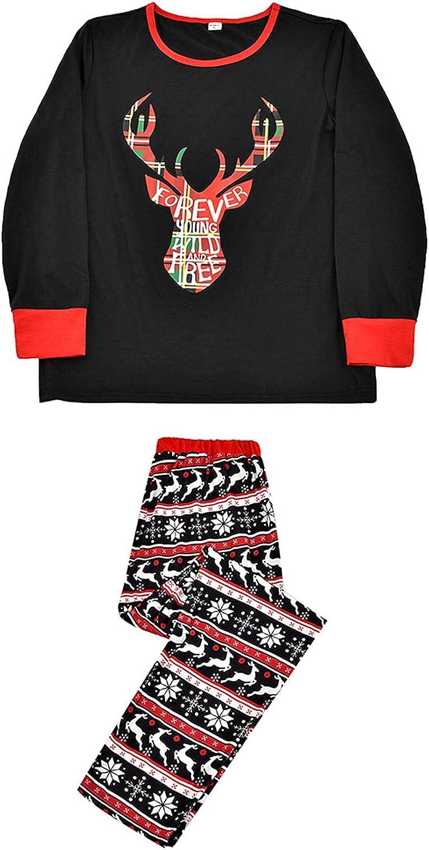 EseFGJK Matching Family Pajamas Sets Christmas PJ's Bear Santa Printed Sleepwear with Plaid Bottom for Men