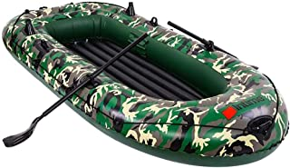 Graysky Inflatable Boat Series Explorer Touring Kayak Canoe Boat Set 3-Person PVC Inflatable Rafts DriftingFishing Dinghy Tender Pontoon Boats with Paddles and Air Pump for Water Sports Fun