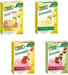 TRUE LEMON MIX VARIETY 4 pack : Lemonade Original, Lemonade Strawberry, Limeade Black Cherry, Lemon Iced Tea. Natural Flavors. Non-GMO. No Artificial Sweeteners or Preservatives. Bonus 5 Paper Straws