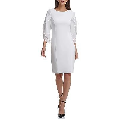 DKNY Sheath With 3/4 Chiffon Sleeve Dress