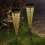 Solarlampen für außen,[2 Pack] TAKEMEURO Solarleuchte Garten Metall LED Deko Warmweiße Wasserdicht IP44 Solarlampe Wegbeleuchtung für Außen Villa Rasen Gehwege