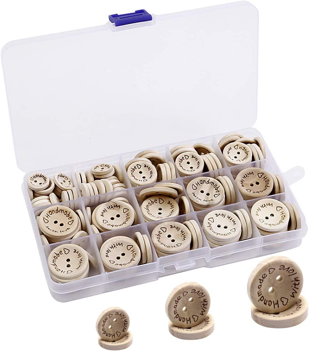 Sales results No. 1 HQDeal 150pcs Wooden Buttons Tucson Mall Handmade for Cra with Love