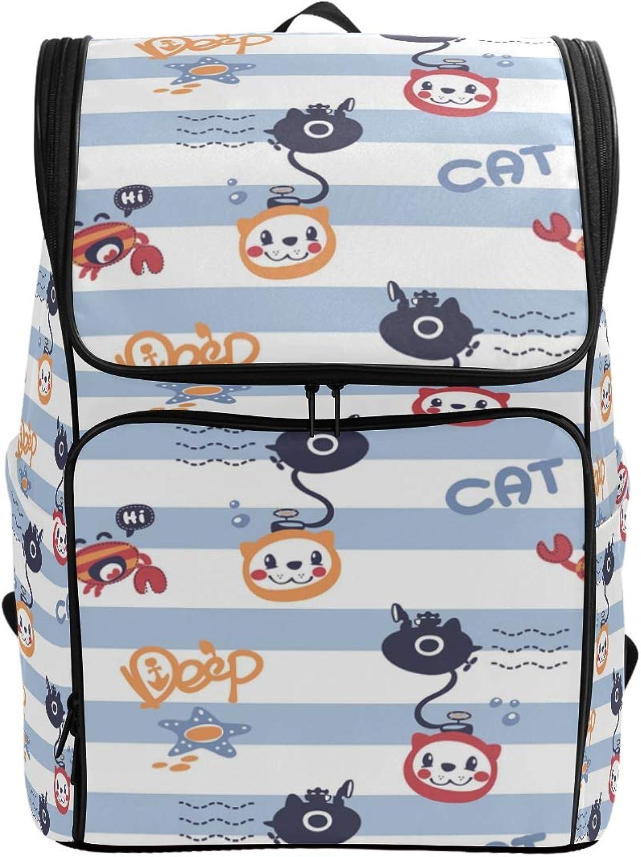 FANTAZIO Cartoon Cat Diving Laptop Outdoor Backpack Travel Hiking Camping Rucksack Pack, Casual Large College School Daypack