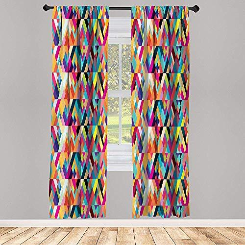 Cy-ril Juego de Cortinas Opacas de 2 Paneles Patrón de Estilo Bauhaus de Formas geométricas como Coloridos Azulejos diagonales Impresión Moderna 52 x 72 Pulgadas Multicolor