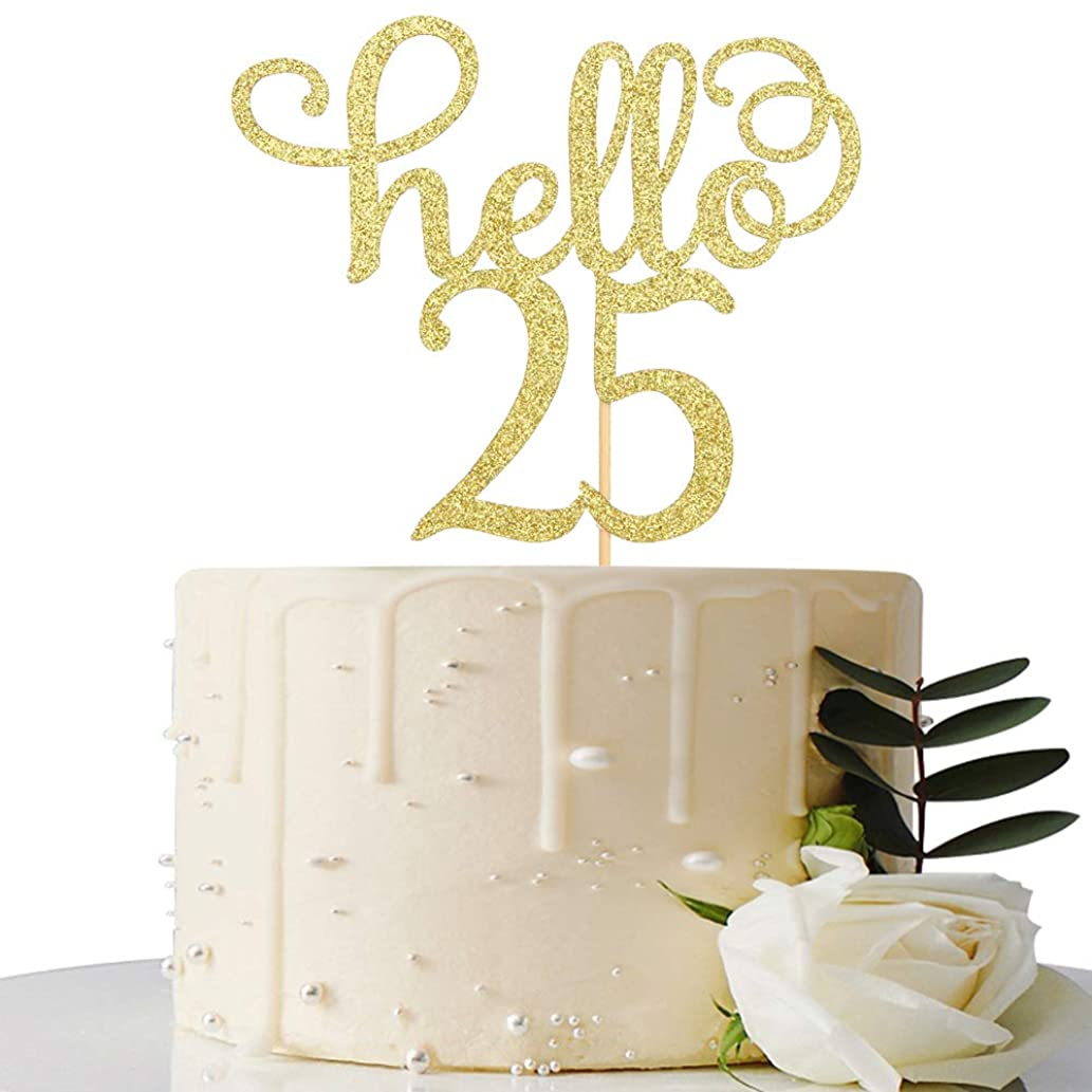 Hello 25 Cake Topper- 25th Birthday/Wedding Anniversary Party Sign Decorations