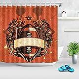 Vintage American Style Fußball Duschvorhang für Badezimmer Badewanne Baden wasserdichte Polyester Stoff Badvorhänge mit Haken 180 × 180 cm
