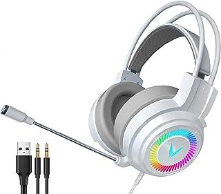 H HILABEE 3,5 mm spelheadset för PC, bärbar dator, dator spel gamer över örat flexibel mikrofon med mikrofon – vit