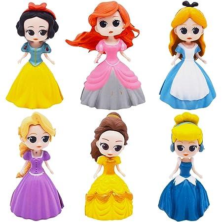 Hilloly Decoración para Tarta Princesa 6 pcs Princesa Cake Topper Mini Juego de Figuras Niños Fiesta de cumpleaños Pastel Decoración Suministros Decoración Fiesta de Boda
