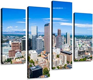Canvas Wall Art Painting Pictures Skyscrapers Rise in Rocky Mountain Front Range City of Denver Colorado Skyline Modern Artwork Framed Posters for Living Room Ready to Hang Home Decor 4PANEL