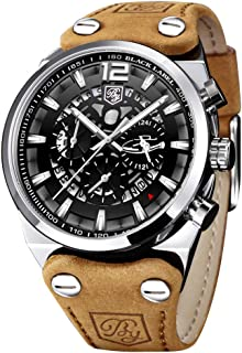 BENYAR Mens Analog Quartz Wrist Watch - Classic Casual Watch with Brown Leather Band Large Face Watches for Men