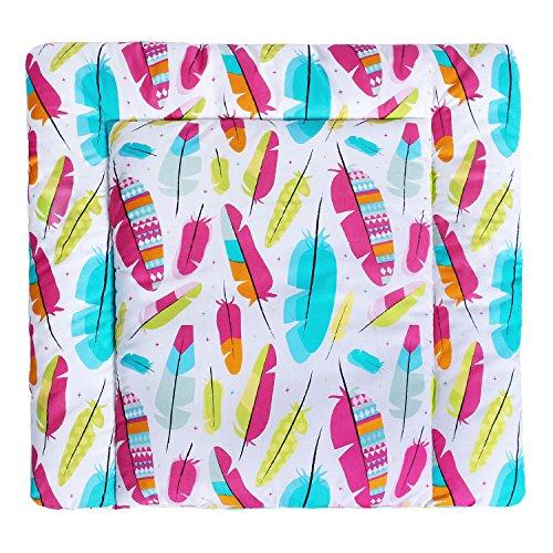 LULANDO Wickelauflage 75x75 cm Oberstoff 100% Baumwolle in tollen Designs. Passend u.a. für die Kommode IKEA Malm Farbe: Colored feathers