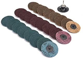 25Pcs 3 inch Roloc Sanding Discs Set,Fine Medium Coarse Grit Discs Surface Conditioning Discs R-Type Quick Change Disc with 1/4'' Roloc Disc Pad Holder for Die Grinder,