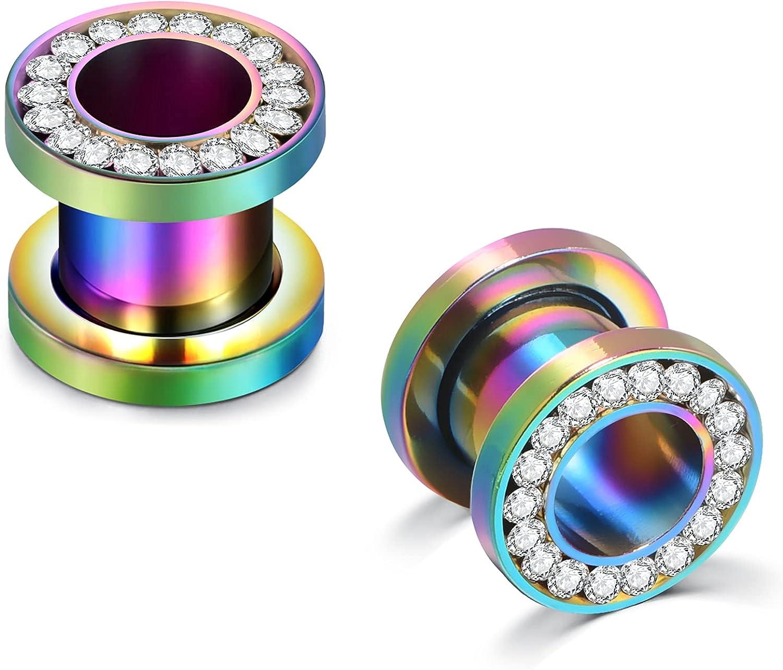 AceFun Ear Tunnel Crystal Rhinestones Ear Tunnels Plugs Expander Gauges Stretcher CZ Earrings Screw Stainless Steel Piercing Fashion Body Jewelry 1 Pair 4mm-18mm