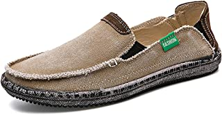 Men's Casual Cloth Shoes Canvas Slip on Loafers Leisure Vintage Flat Boat Shoes