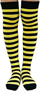 Womens Over The Knee Socks Colorful Striped Fashion Long Thigh High Stockings