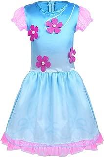Baby Toddler Girls Halloween Princess Poppy Costume Cosplay Fancy Dress Up Short Bubble Sleeves Flower Dress