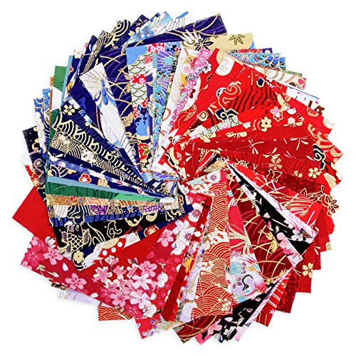 50 Sheet Quilting Fabric Cotton Fabric Different Pattern Cloths Fabric for Sewing Pre-Cut Quilt Sewing Supplies Patchwork for DIY Scrapbooking Art Craft Supplies (3.94x3.94 in)