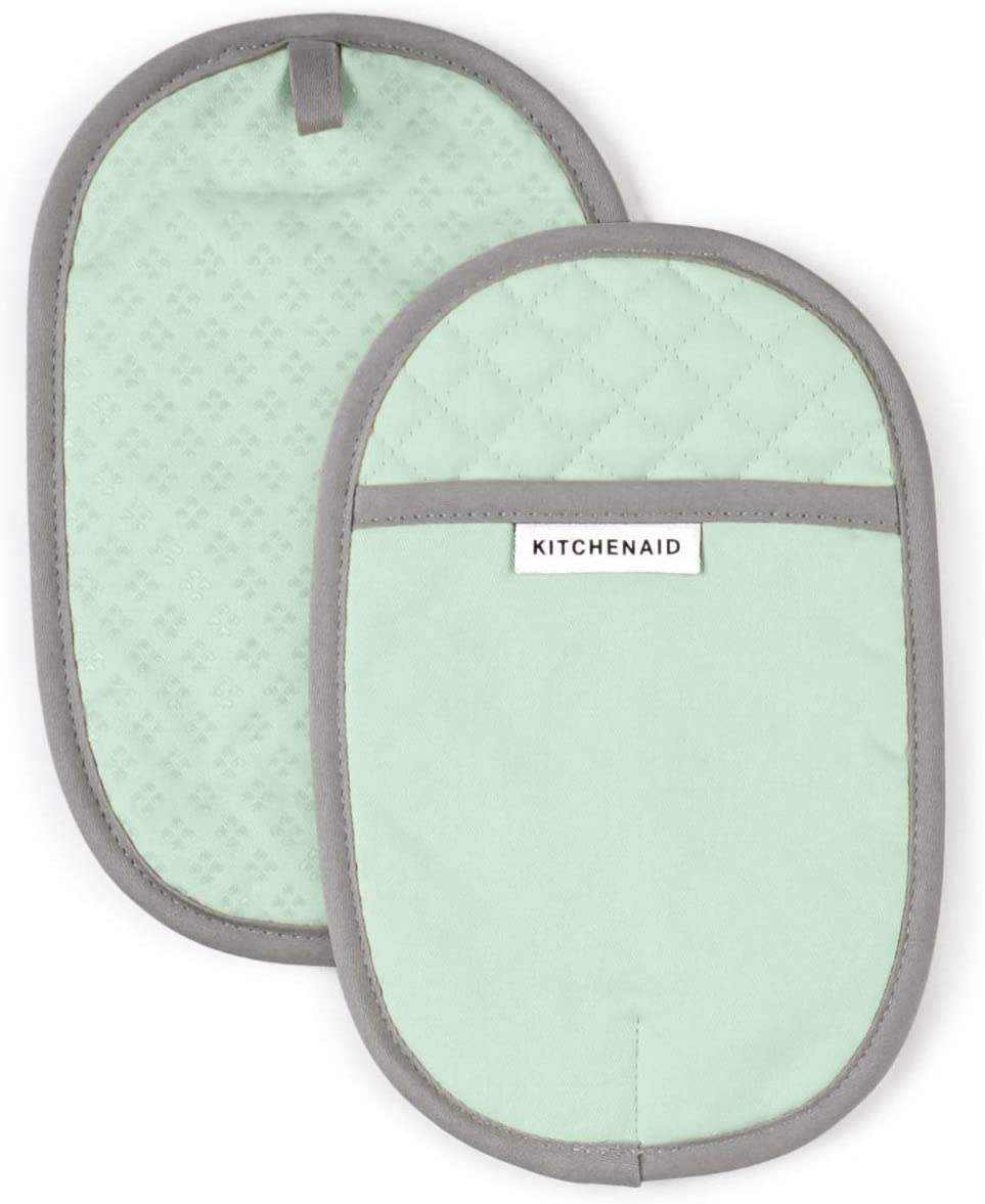 KitchenAid Asteroid Cotton Pot Holders with Silicone Grip, Set of 2, Pistachio 2 Count