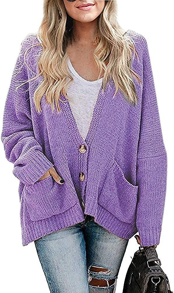 Womens Plus Size Open Front Button Down Cardigans Oversized Chunky Knit Long Sleeve Sweater Coats with Pockets