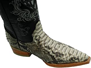 Men's Snip Toe Genuine Python Skin Leather Cowboy Western Boots_Natural_11 White