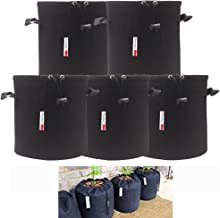 Growsun 3 Gallon 5 Bags Drawstring Lock-Top Grow Bag Plant Fabric Pots with Handles