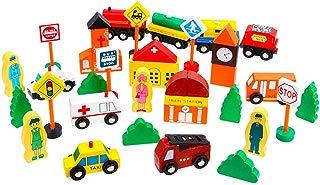 Beebeerun Wooden City Traffic Blocks City Play Set Building Blocks for Toddlers Kids Boys Girls Gift