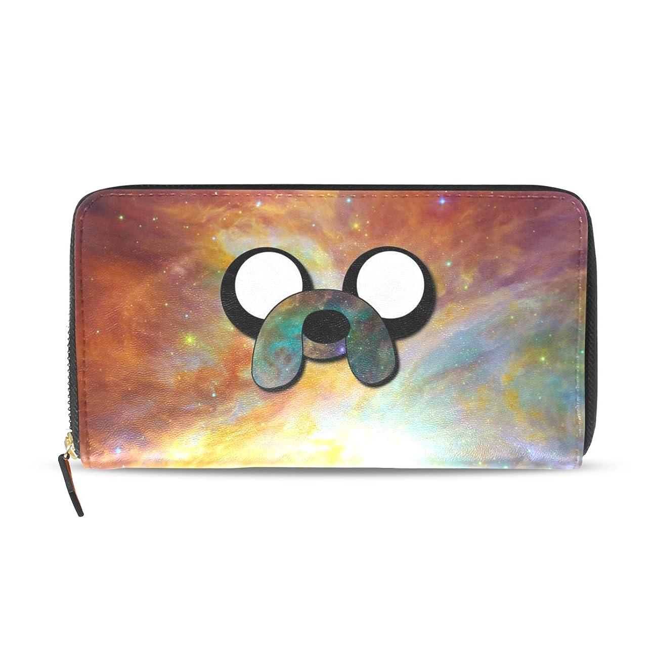 便利さログラベGORIRA(ゴリラ) 星雲上 犬の顔 長財布 レディース ダブルサイド印刷 ファスナー開閉式 ウォレット