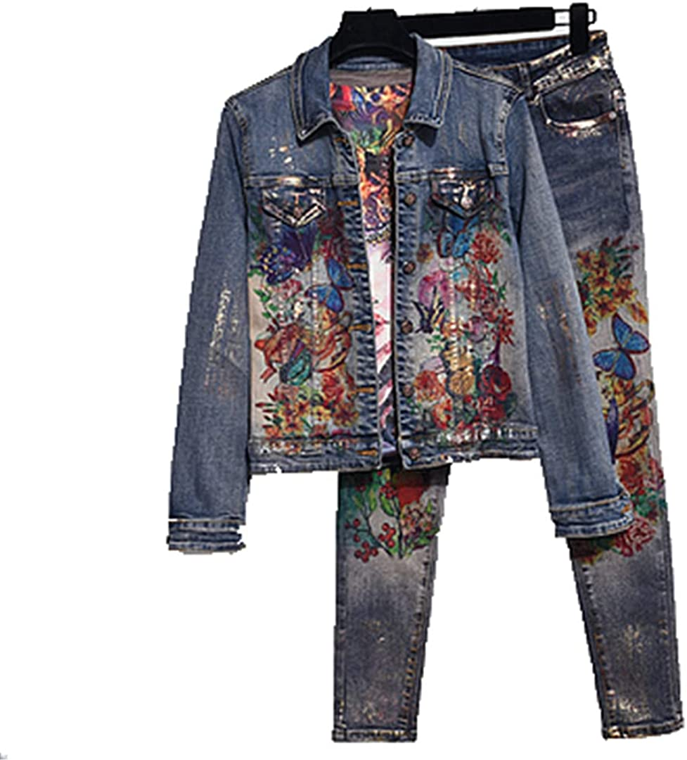 Printed Stretch Denim Suit Ladies Slim Jeans Jacket + Trousers 2-Piece Set