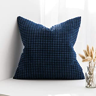 MIULEE Decorative Throw Pillow Covers Soft Corduroy Solid Cushion Case Dark Blue Pillow Cases for Couch Sofa Bedroom Car 24 x 24 Inch 60 x 60 cm