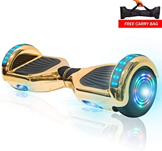 NHT Electric Smart Self Balancing Scooter Hoverboard Built-in Speaker LED Wheels Side Lights- UL2272 Certified [Chrome Gold]