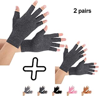 Brace Master 2 Pairs Compression Arthritis Gloves Support and Warmth for Hands, Finger Joint, Relieve Pain from RSI, Carpal Tunnel and Tendonitis for Women and Men (Black, Large)