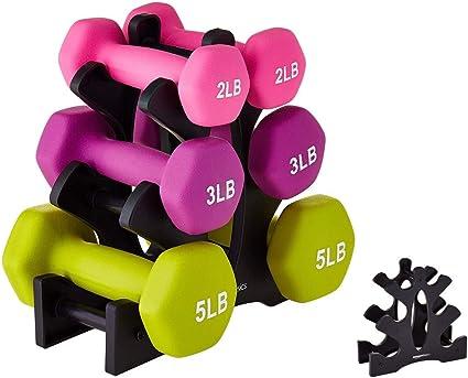 Leezo Hantelbaum Hantel Rack Stand Home Gym /Übung 12-30 kg Schwarz /& Grau nur Rack