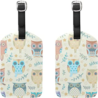 MASSIKOA Owls Cruise Luggage Tags Suitcase Labels Bag,2 Pack