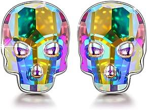 NINASUN Women Christmas Earrings Gifts Skull Women Stud Earrings Hypoallergenic 925 Sterling Silver Skull Stud Earrings for Women with Crystals From Swarovski