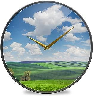 Chovy 掛け時計 サイレント 連続秒針 壁掛け時計 インテリア 置き時計 北欧 おしゃれ かわいい 自然風景 绿 グリーン 青 ブルー 部屋装飾 子供部屋 プレゼント