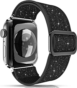 KINGXBAR Glitter Stretchy Solo Loop Bands Compatible with Apple Watch 38mm 40mm for Women Girls Sport Elastic Nylon Adjustable Sparkle Braided Strap Wristband for iWatch Series 6/5/4/3/2/1 SE Black