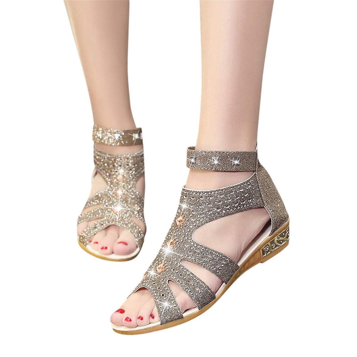 Oasisocean Sandal Platform Sandals for Women 2019 Roma Shoes Sandals Women's Ankle Strap Rhinestones Low Wedge Sandals