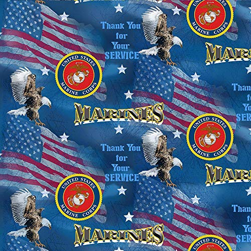 Marines Miltary Flags & Decal Design 43' Wide 100% Quilting Cotton Fabric Sold by Yard