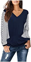 OFEFAN Women's Striped Color Block Ruffle Top Casual Long Sleeve V Neck Shirt Blouse