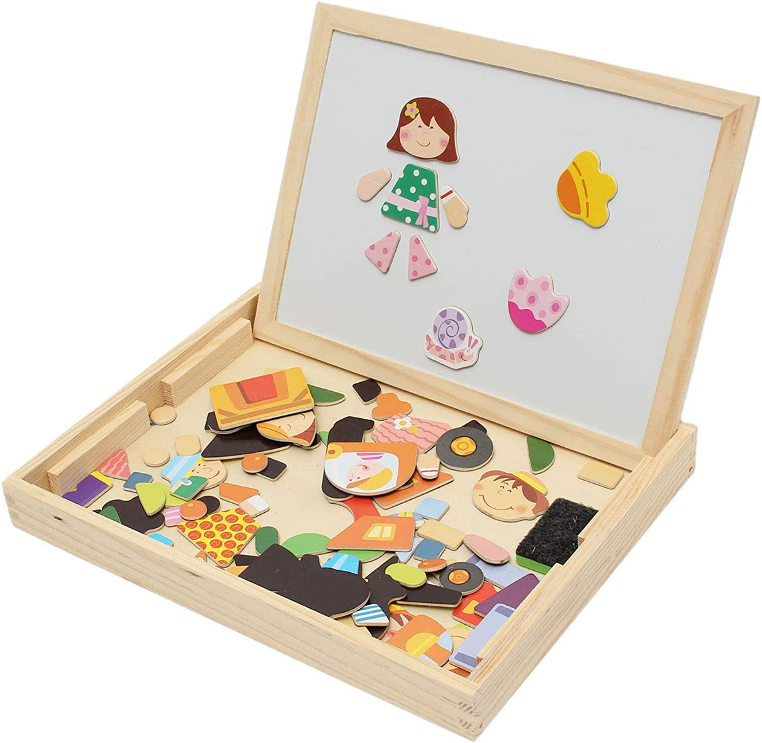 Laliva Learning & Education  Kids Educational Learning Wooden Magnetic Drawing Board Jigsaw Puzzle Toys  (Shape   01)