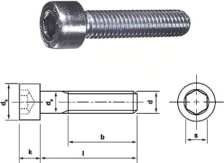 Tornillos cil/índricos con muesca hexagonal 10/unidades, DIN912//–/Acero inoxidable, A2, V2A