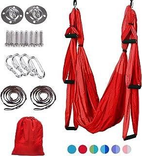 MelkTemn Aerial Yoga Swing Set,Aerial Yoga Hammock Trapeze,Ultra Strong Antigravity Yoga Hammock/Sling/Inversion Tool,Aerial Pilates Silk Yoga Swing Set