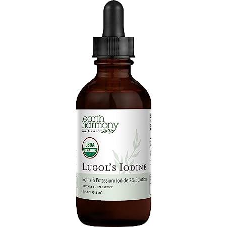 Organic Lugol's Iodine, Iodine and Potassium Iodide 2% Solution 3000 mcg - Liquid Supplement Drops for Thyroid Support for Women & Men, Metabolism Health, Detox Boost - Non-GMO, 395 Servings (2 Oz)