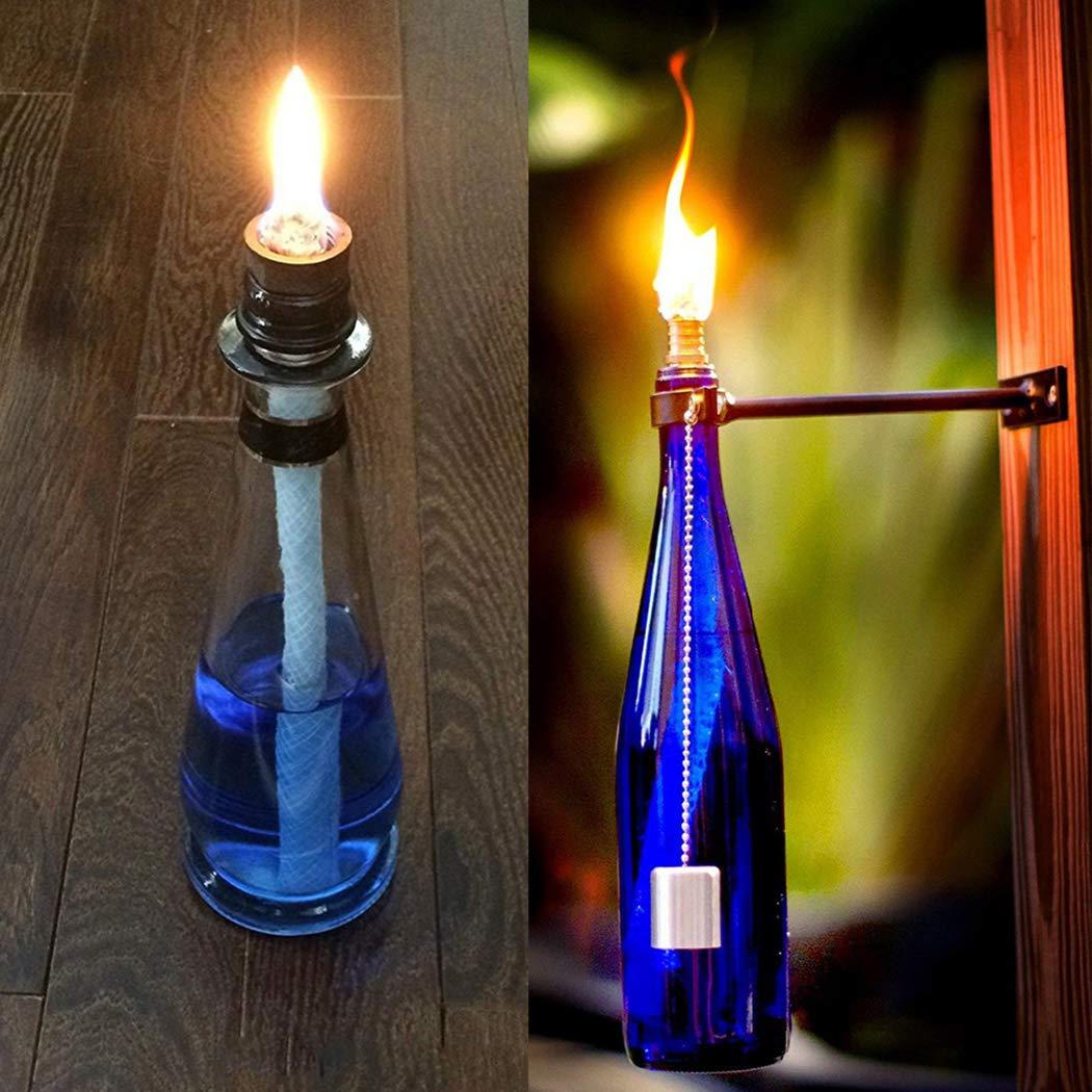 Coxeer - Juego de 12 mechas de Aceite para lámpara, Multiusos, de Fibra de Vidrio, con Linterna, Botella y Mecha para Exteriores: Amazon.es: Hogar
