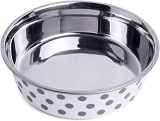 Petface Stainless Steel Food or Water Bowl for Dogs, White/Grey, Small (31026DS1)