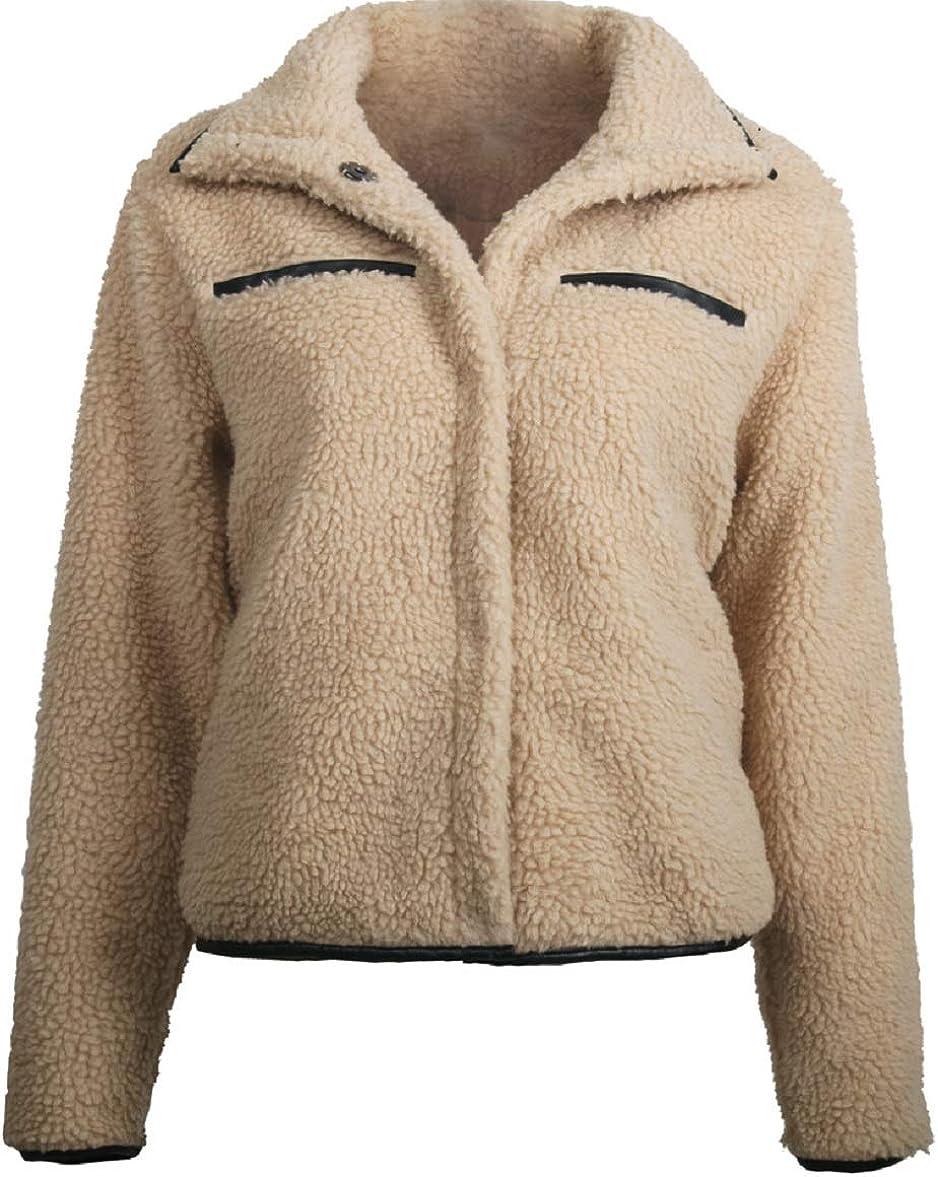 CHARTOU Women's Cute Lapel Collar Fuzzy Faux Fur Long Sleeve Short Coat Outwear