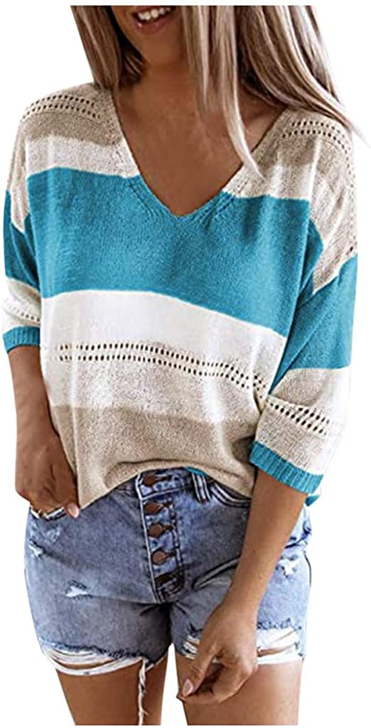 POTO Pullover Sweater for Women Casual Patchwork Sweatshirts V Neck Middle Sleeve T-shirts Blouses Tops